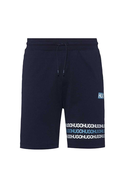 Cotton-terry shorts with tyre-print logos in navy