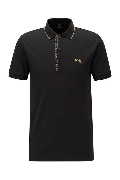 Slim-fit polo shirt with logo-tape placket in black