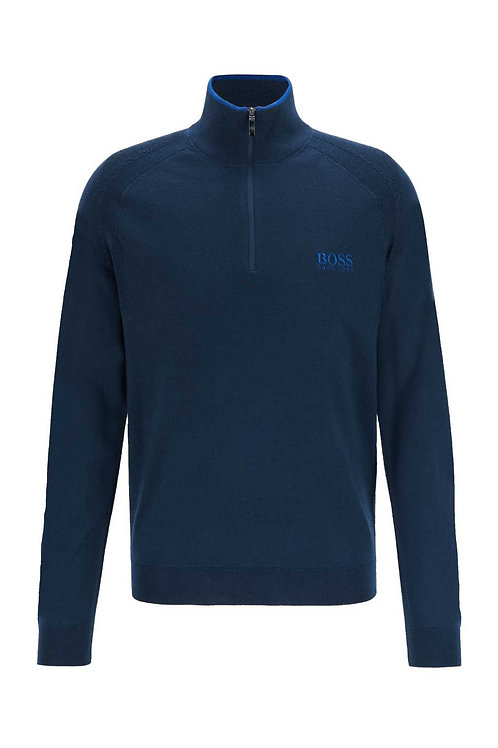 Regular-fit zip-neck sweater with logo embroidery in navy
