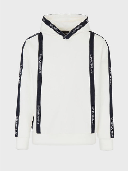 Tape Logo Hoodie in White
