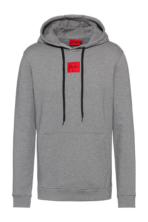 Red Square Logo Hoodie in Grey