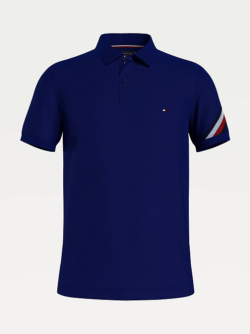 Sleeve Tape Slim Fit Polo In Navy