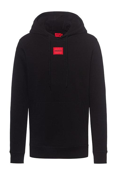 Red Square Logo Hoodie In Black