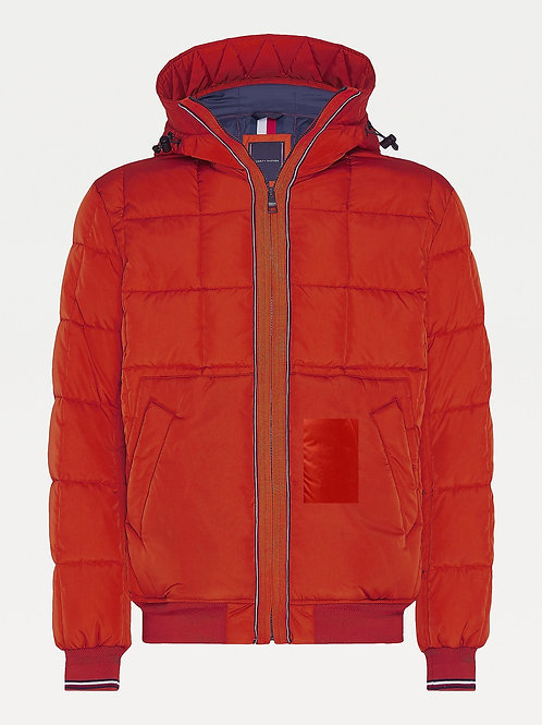 Quilted Hooded Bomber in Tucson Orange
