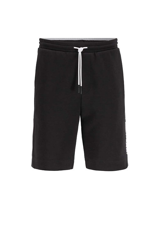 Interlock-jersey shorts block logo in black