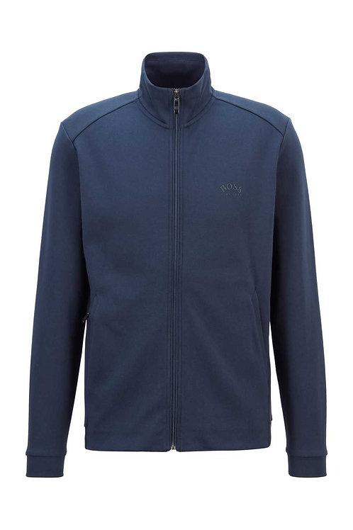 Zip-through logo sweatshirt in navy