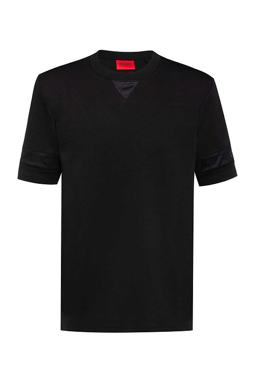 Relaxed-fit T-shirt with mesh inserts and logo details in black