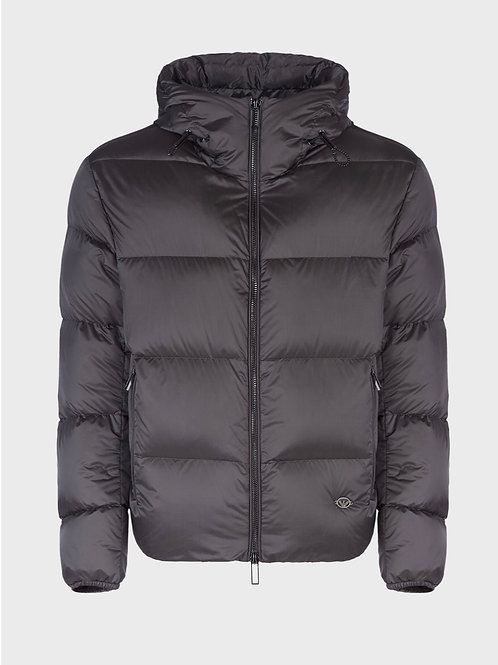 Quilted Nylon Down Jacket in Grey