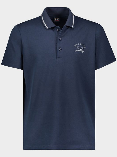 Cotton Polo With Reflective Logo in Navy