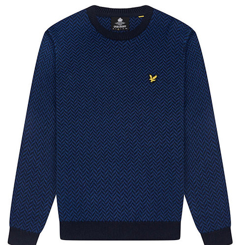 Lyle & Scott Knitted Jumper With Herringbone Jacquard in Blue