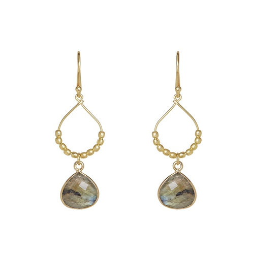 Raffia Earrings, Labradorite