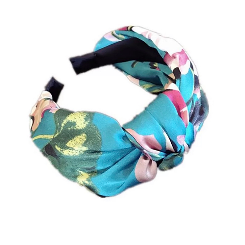 Floral Knot Headband, Turquoise