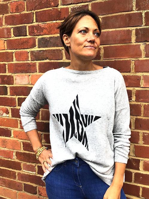Classic Star Cashmere Mix Sweater, Zebra