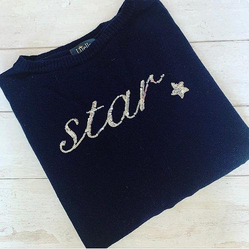 Sequin Star Sweater / Navy