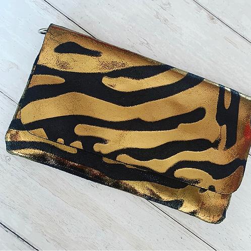 Metallic Animal Print Clutch, Leather