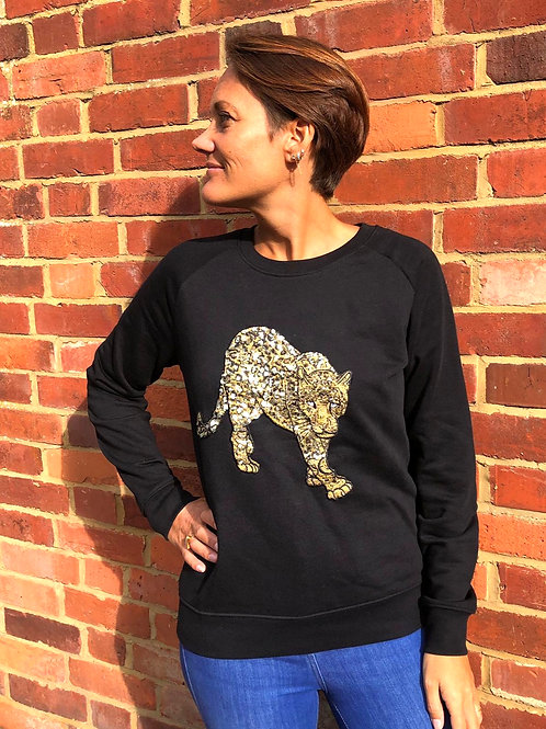 Leopard Sweatshirt, Black