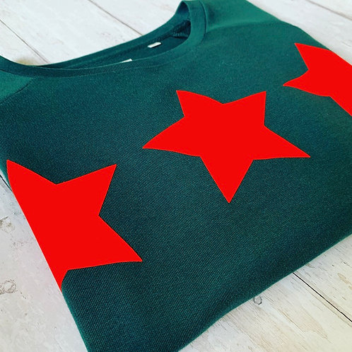 Triple Star Sweatshirt / Green & Neon coral