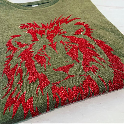 Lion Muscle Tee / Khaki Red
