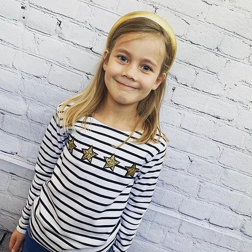 Kids Gold Star Long Sleeve Breton Top