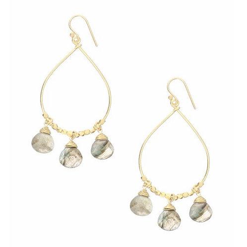 Bella Gemstone Drop Hoop Earrings