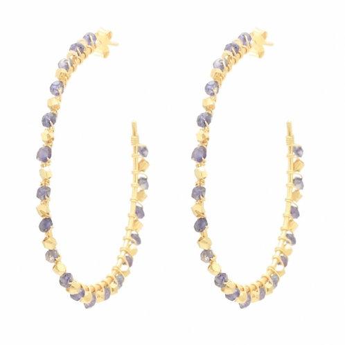 Riva Hoop Earrings, Iolite