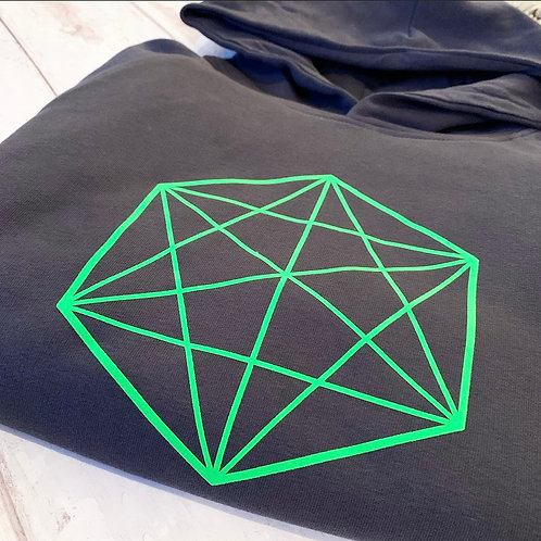Geo Hoodie / Ink Neon Green