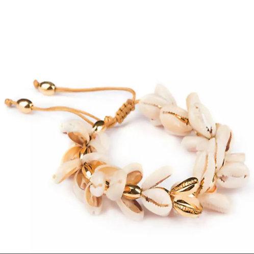 Rhi Shell Bracelet, Gold / Blush