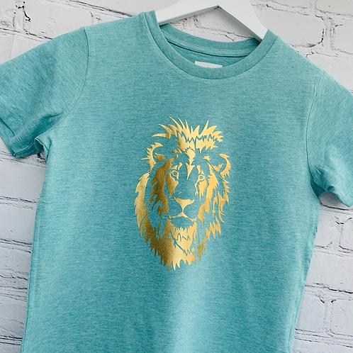 Kids Gold Lion Tee / Heather Green