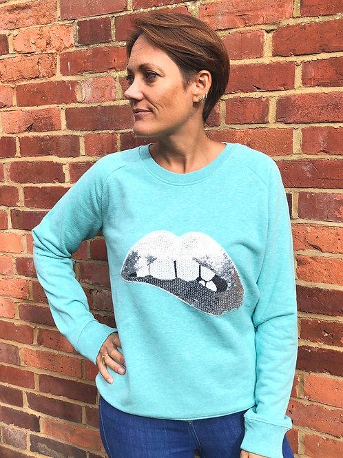 Sequin Lips Sweatshirt, Turquoise