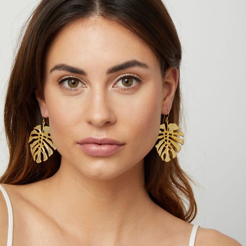 Adriana Monstera Drop Earrings