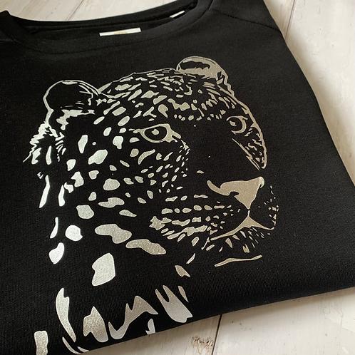 Cheetah Sweatshirt / Black & Silver