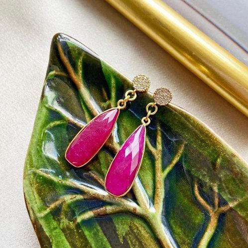 Ocean Drop Stone Earrings / Ruby Agate