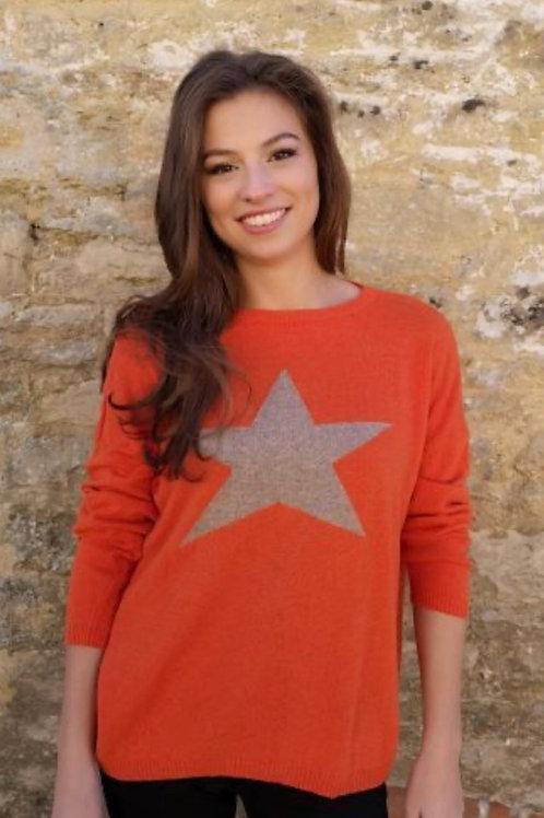 Classic Star Cashmere Mix Sweater, Orange