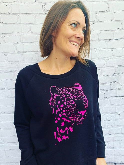 Cheetah Sweatshirt / Black & Hot Pink