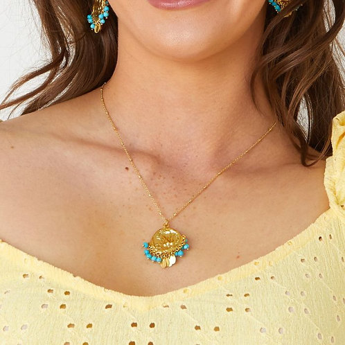 Lily Beaded Coin Necklace / Turquoise