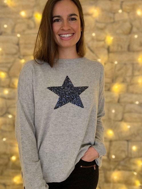 Sparkle Sweater / Grey & Navy
