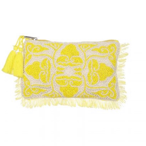 The Udaipur Beaded Clutch, Yellow