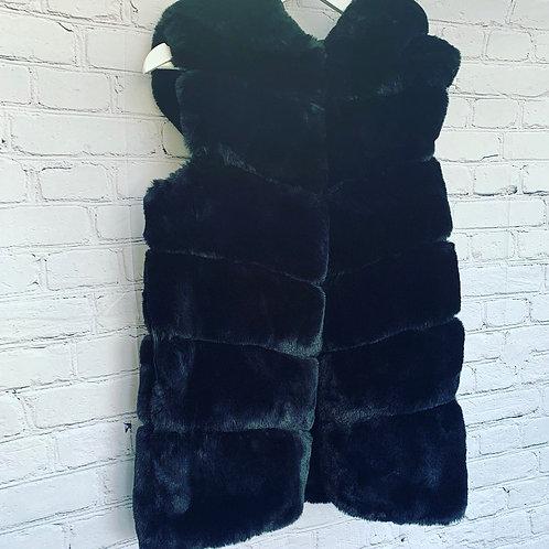 Faux Fur Hooded Gilet / Black