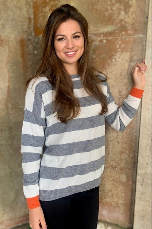 Reese Sweater Mid-Grey/Ivory/Orange