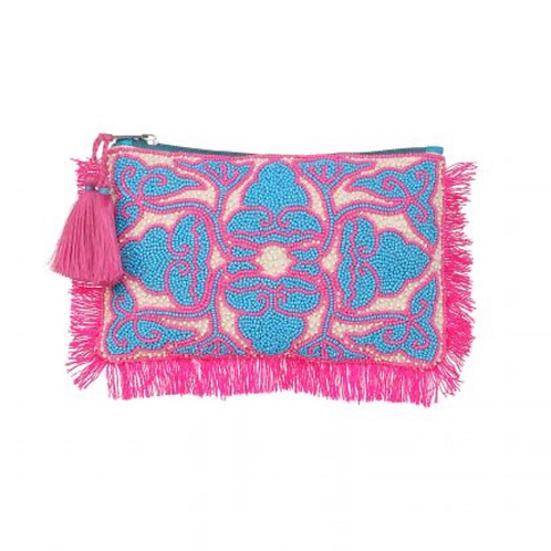 The Udaipur Beaded Clutch, Pink & Blue