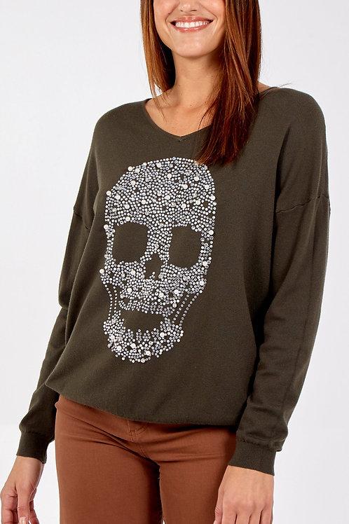 Skull Sweater with Rhinestones / Khaki