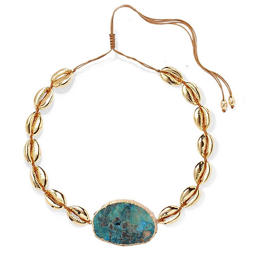 Keely Necklace, Gold / Turquoise