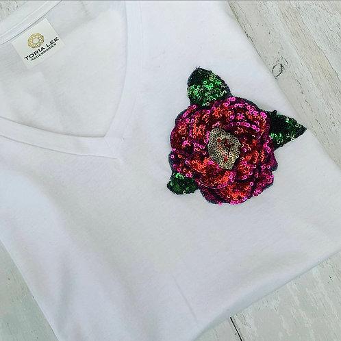 Sequin Rose Tee, White