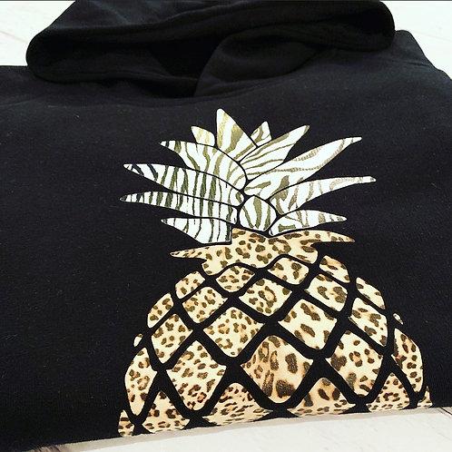 Ananas Hoodie / Black Animal Print