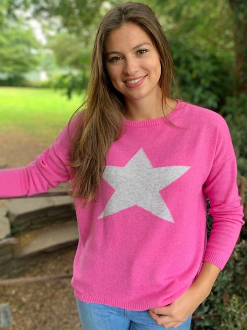 Classic Star Sweater Hot Pink/Silver