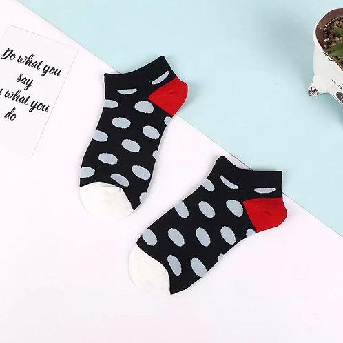 Dotty Socks, Navy / Red