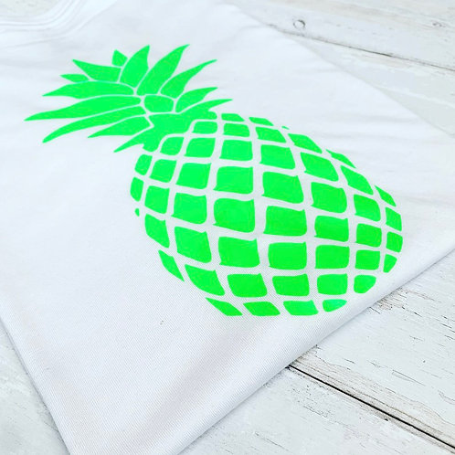 Pineapple Muscle Tee / White & Neon Green