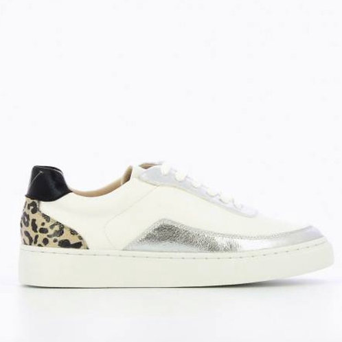 White & Silver Sneakers with Leopard