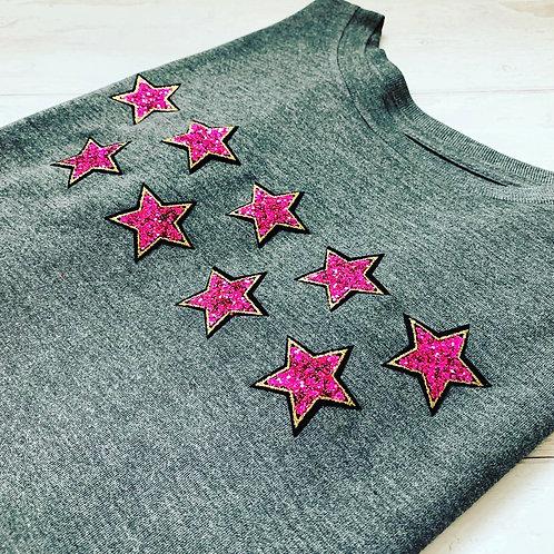 Eliza Muscle Tee / Grey & Pink