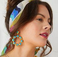 Wanda Hoop Earrings Turquoise Headshot.j